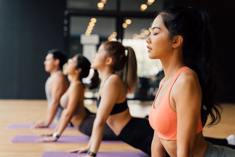 Group of Asian fitness people doing yoga upward facing dog pose on mats at yoga studio. Young women and man exercising at fitness center.