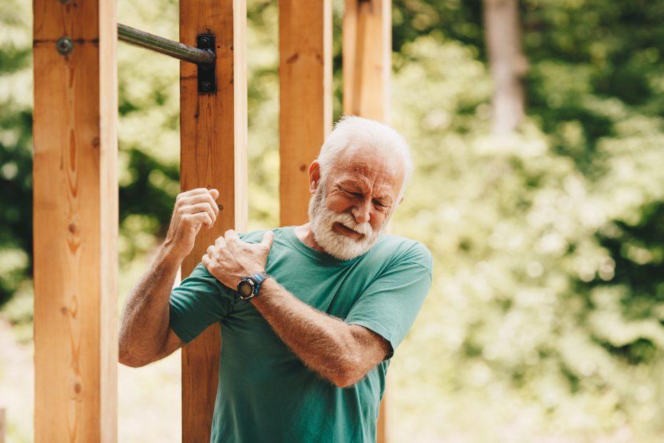 An old man doing qigong.