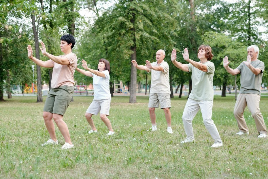 A group of people doing QiGong for high blood pressure.