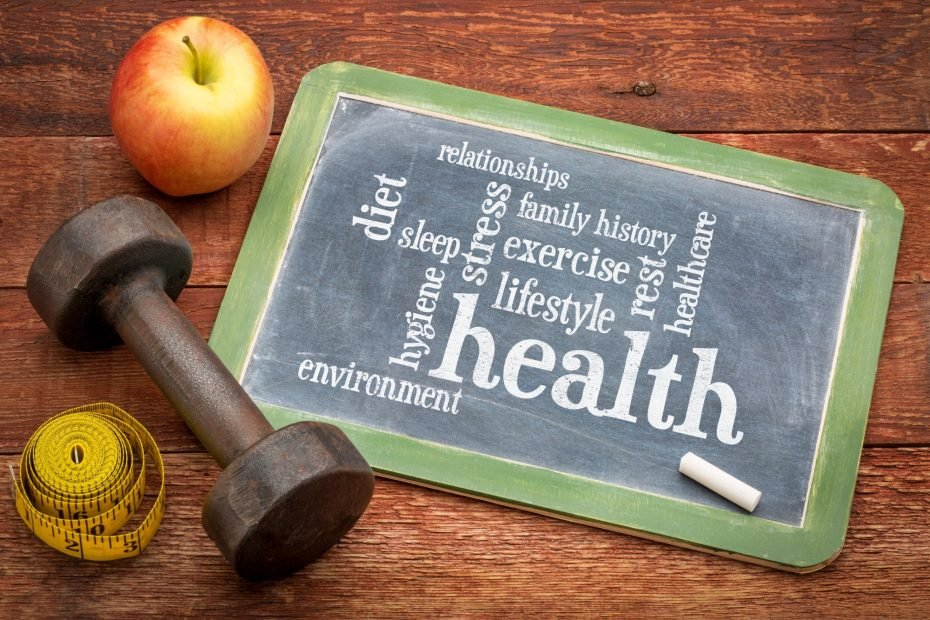 health concept - word cloud of contributing factors (diet, lifestyle, healtcare, family history, environment, exercise, stress, relationships, sleep, rest, hygiene), white chalk text on a blackboard with dumbbell, apple and tape measure