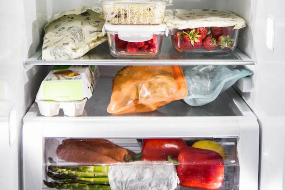 Close up of food inside a fridge.