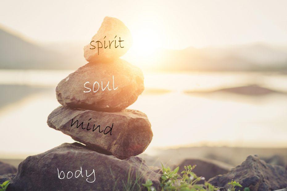 Holistic health concept of zen stones / Concept body, mind, soul, spirit.